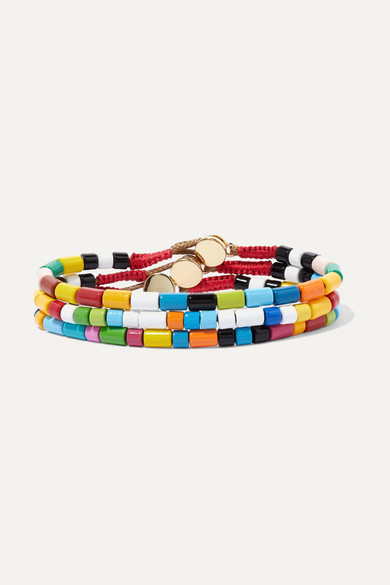 Rainbow Set Of Three Enamel And Gold Tone Bracelets by Roxanne Assoulin