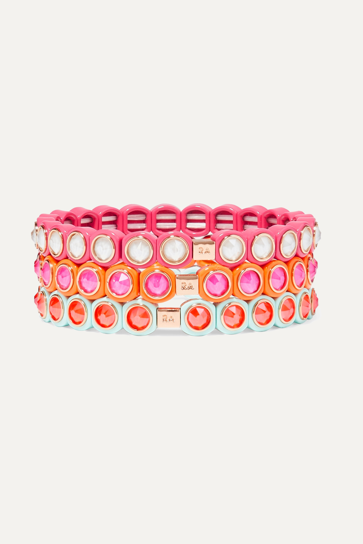 Roxanne Assoulin Mini Me set of three neon enamel and Swarovski crystal bracelets