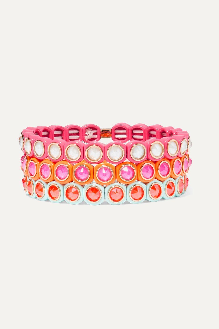 록산느 애슐린 팔찌 Roxanne Assoulin Mini Me set of three neon enamel and Swarovski crystal bracelets,Pink