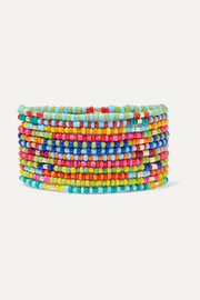 Patchwork set of 12 enamel and gold-tone bracelets