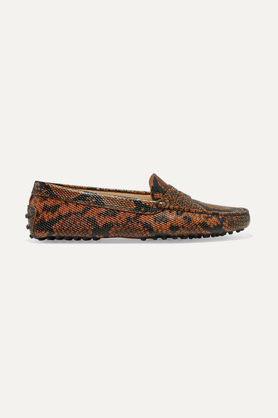 Tod's Gommino Snake-effect Leather Loafers In Snake Print