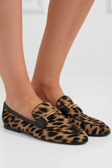 Tod's – Embellished Leather-trimmed Leopard-print Calf-hair Loafers – Leopard print