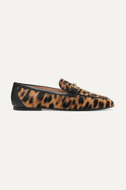 Embellished leather-trimmed leopard-print calf-hair loafers