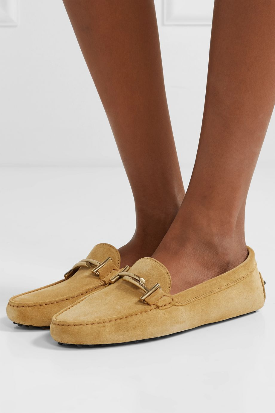 Tod's Gommino embellished suede loafers