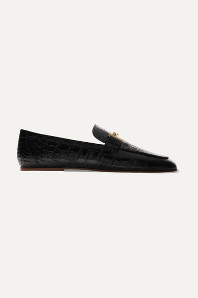 mocassins-en-cuir-verni-effet-croco-à-ornements by tods