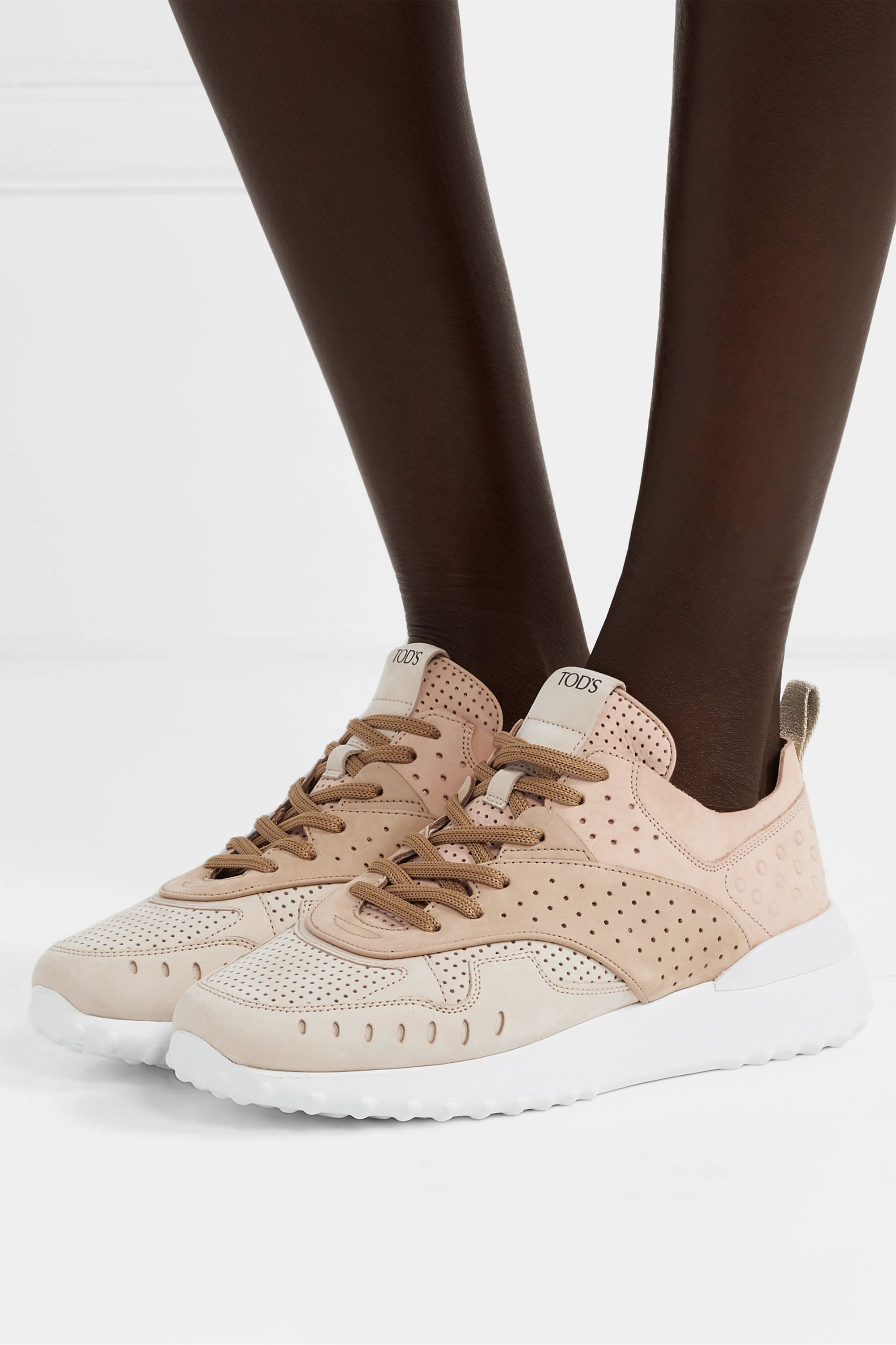Beige Perforated color-block suede