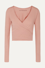 Cropped wrap-effect cotton and cashmere-blend top