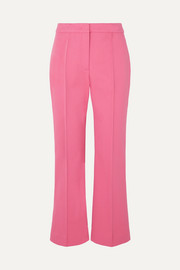 Cropped pintucked stretch-cotton twill flared pants