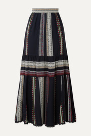 Derek Lam Lace-trimmed tiered printed silk midi skirt