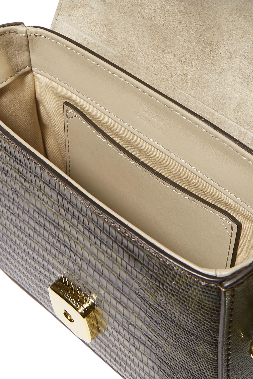 Chloé Chloé C mini color-block lizard-effect leather shoulder bag