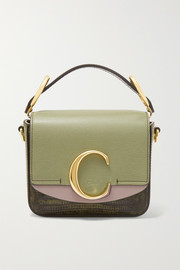 Chloé Chloé C mini color-block lizard-effect leather shoulder bag