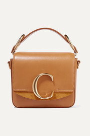 Chloé C mini suede-trimmed leather shoulder bag