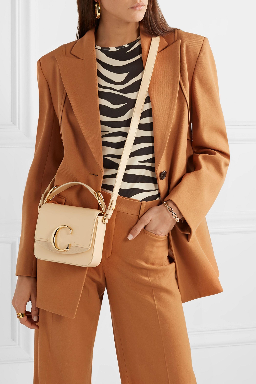 Chloé Chloé C mini suede-trimmed leather shoulder bag