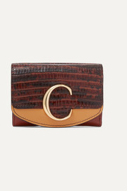 Chloé Chloé C color-block lizard-effect leather cardholder