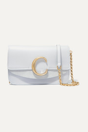 Chloé Chloé C suede-trimmed leather shoulder bag