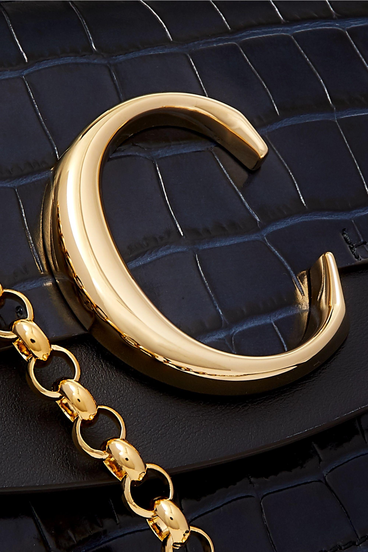 Chloé Chloé C leather-trimmed croc-effect shoulder bag
