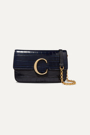 Chloé C leather-trimmed croc-effect shoulder bag