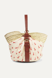 Panier leather-trimmed printed twill and woven raffia tote