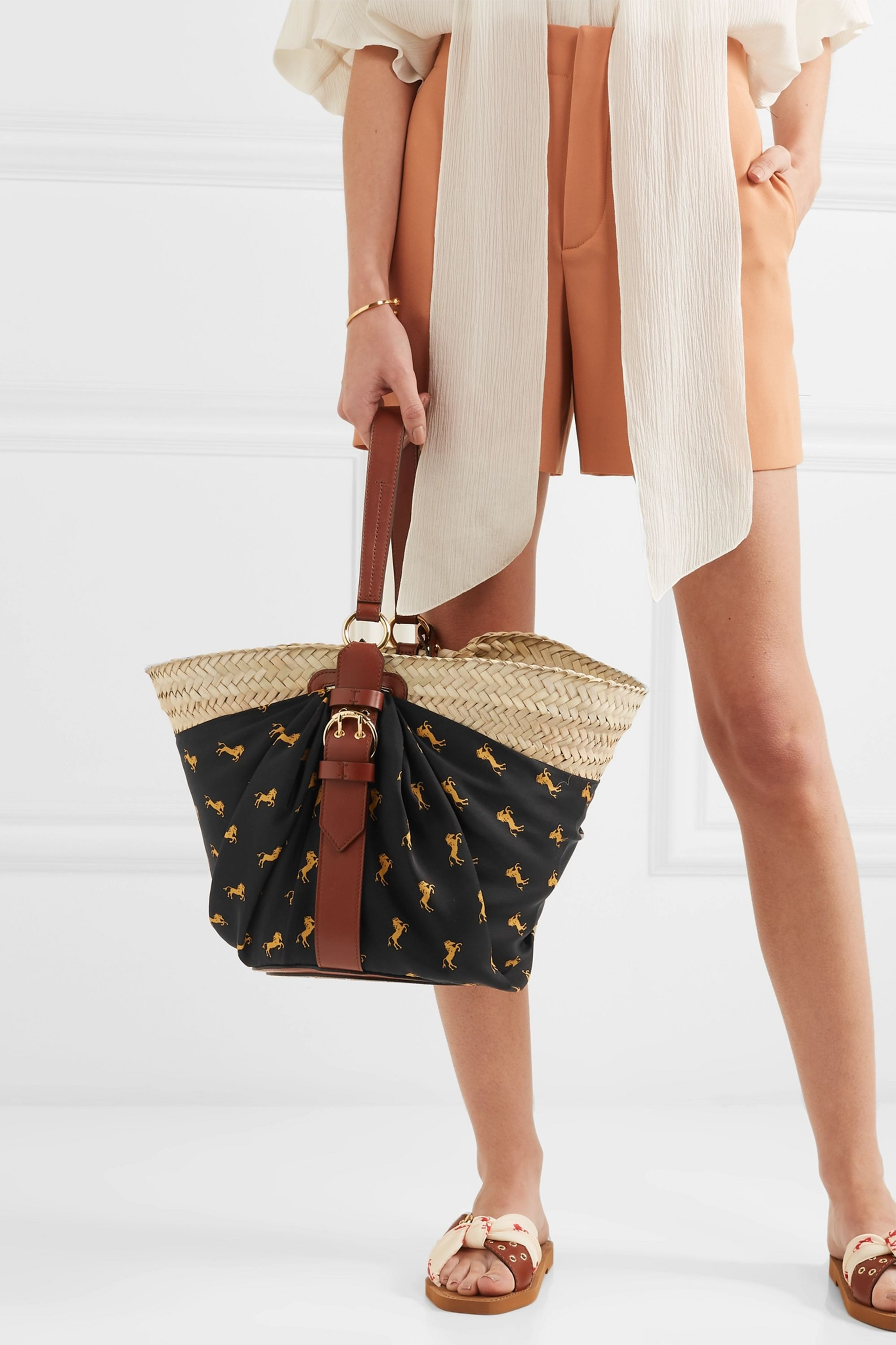 Chloé Panier leather-trimmed printed twill and woven raffia tote