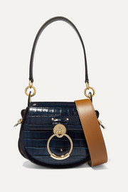 Tess small croc-effect leather and suede shoulder bag