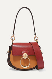Chloé Tess small color-block smooth and lizard-effect leather lizard shoulder bag