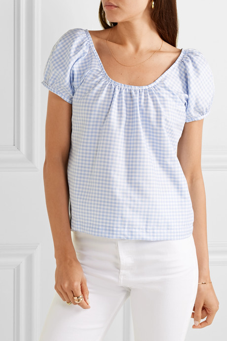 Camille gingham cotton-voile top