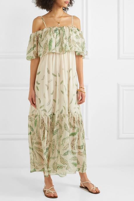 + Zandra Rhodes Diana cold-shoulder ruffled printed silk-chiffon dress