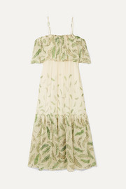 + Zandra Rhodes Diana cold-shoulder ruffled printed silk-chiffon dress