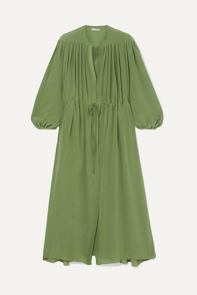 4545a66911b80c Three Graces London | Julienne gathered silk crepe de chine maxi ...