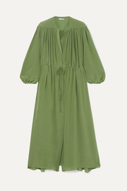 Julienne gathered silk crepe de chine maxi dress