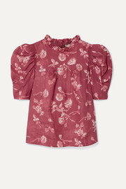 SEA Monet ruffle-trimmed floral-print ramie blouse