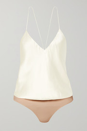 Body string en charmeuse de soie et en jersey stretch Lewis