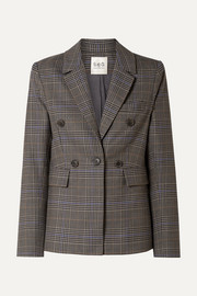 SEA Rowan double-breasted checked woven blazer
