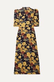SEA Ella ruffle-trimmed floral-print crepe midi dress