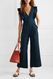 Stevie ruffled cotton-blend jumpsuit