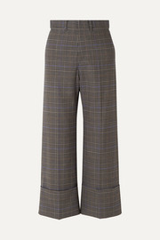 SEA Rowan cropped checked woven wide-leg pants