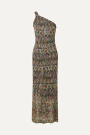 Missoni One-shoulder crochet-knit maxi dress