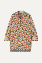 Missoni Draped striped crochet-knit wool-blend mini dress