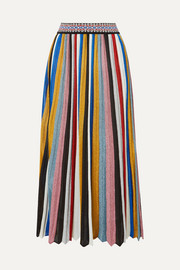 Missoni Pleated striped metallic knitted midi skirt