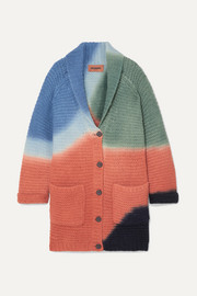 Color-block ribbed alpaca-blend cardigan