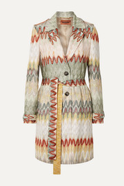 Missoni Belted crochet-knit trench coat