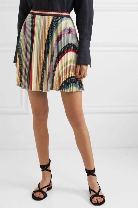 Metallic striped crochet-knit mini skirt