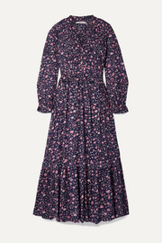 Likoya ruffled floral-print cotton-voile maxi dress