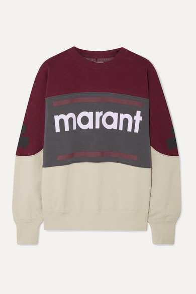 Etoile Isabel Marant T-shirts GALLIAN FLOCKED COTTON-BLEND FLEECE SWEATSHIRT