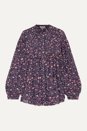 Laila pintucked floral-print cotton blouse