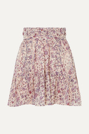 Laraya pleated printed cotton skirt