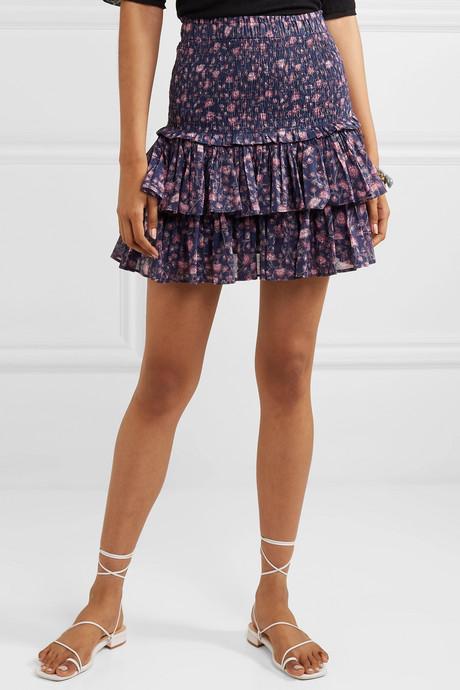 Naomi ruffled floral-print cotton-gauze mini skirt