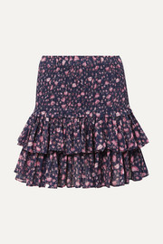 Naomi ruffled floral-print cotton-gauze mini skirt