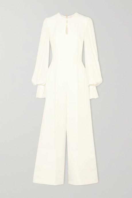 Ivory Aunya cady and crepe jumpsuit   Roksanda R0RstP