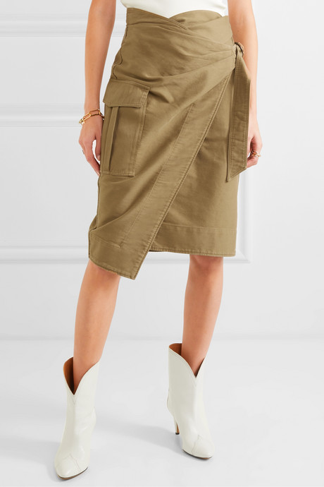 Giulia cotton-twill wrap skirt